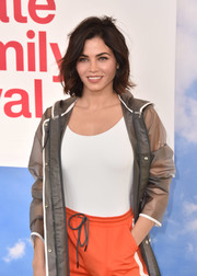 Jenna Dewan-Tatum layered a white Onia bodysuit under a gray raincoat for the Hunter for Target Ultimate Family Festival.