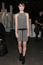 Sami Gayle was sporty-chic in a gray and black racer-neckline mini dress at the ICB by Prabal Gurung fashion show.