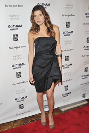 Lake Bell looked smoking in a strapless brocade LBD with a gathered hip detail for the Gotham Film Awards.
