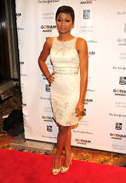 Emayatzy looked classic in this white beaded cocktail dress at the Gotham Independent Film Awards.