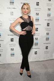 Rachel McAdams showed her more daring side in a black Swiss dot-panel jumpsuit with bustier detailing during the Gotham Independent Film Awards.