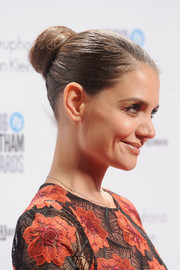 Katie Holmes swept her hair back into a classic bun for the Gotham Independent Film Awards.