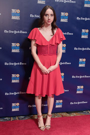 Zoe Kazan went the ultra-girly route in a red Giambattista Valli cocktail dress with flutter sleeves at the 2017 Gotham Independent Film Awards.