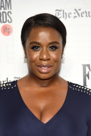 Uzo Aduba kept it simple and classic with this side-parted updo at the 2018 Gotham Independent Film Awards.