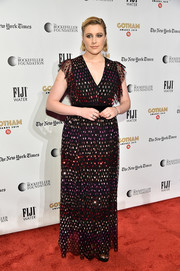 Greta Gerwig looked festive in a sequin-embellished gown by Temperley London at the 2019 Gotham Independent Film Awards.