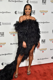 Keke Palmer sealed off her look with a pair of strappy black and silver heels by Giuseppe Zanotti.