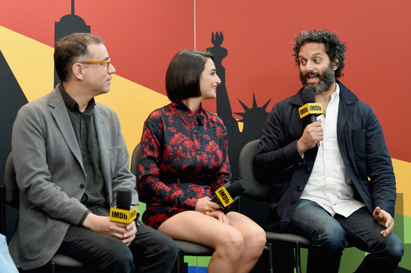 More Pics of Jenny Slate  Print Blouse (1 of 17) - Jenny Slate  Lookbook - StyleBistro [yellow,event,conversation,fun,sitting,interview,performance,big mouth,jason mantzoukas,jenny slate,fred armisen,imdb,l-r,javits center,new york city,new york comic con]