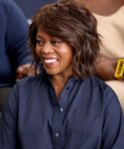 Alfre Woodard was stylishly coiffed with this layered razor cut while visiting the IMDb Studio at the 2019 Sundance Film Festival.