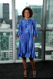 Gugu Mbatha-Raw looked adorable in a dotted blue dress with a ruffle hem at the IMDb Studio event.