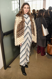 Olivia Palermo worked a mod-print maxi dress at the Zimmermann fashion show.