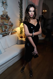 Madalina Ghenea made a great team up of a sequined LBD and a pair of black crisscross heels.