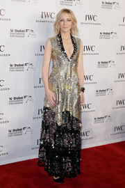 Cate Blanchett went for edgy glamour in an embellished gold and black gown by Louis Vuitton at the IWC For the Love of Cinema dinner.
