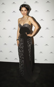 Li looked dramatic in a strapless beaded evening gown for the Cannes Film Festival.