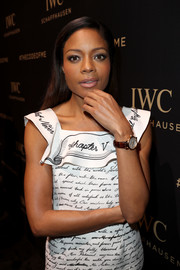 Naomie Harris showed off a stylish leather-band quartz watch by IWC during the launch of the brand's Da Vinci Collection.