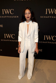 Nicole Warne opted for an all-white suit and blouse combo when she attended the IWC Schaffhausen 'Decoding the Beauty of Time' gala.