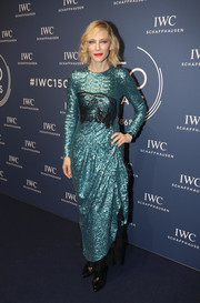 Cate Blanchett brought major sparkle to the IWC Schaffhausen Gala with this aqua sequin dress by Preen.