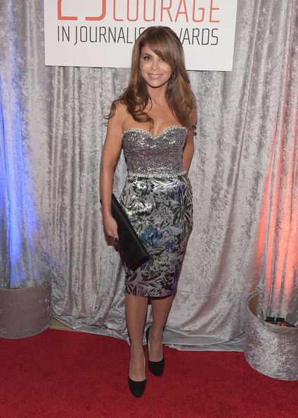 Paula Abdul shone at the IWMF Courage in Journalism Awards in a strapless dress with a bedazzled bodice and a floral jacquard skirt.