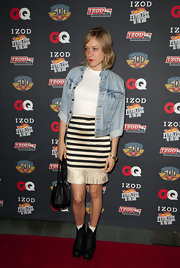 Chloe Sevigny donned black leather lace-up boots to the IZOD 'GQ' party.