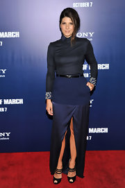 Marisa Tomei was dark and chic at 'The Ides of March' premiere. She accessorized her blue ensemble with black leather peep-toe pumps with ankle-strap detailing.