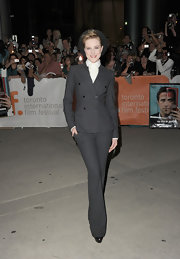 Evan Rachel Wood donned a chic pinstriped suit at the 'Ides of March' premiere. She finished off the look with black patent leather pumps.