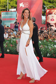 Fiona Swarovski looked simply gorgeous in a beaded halter evening dress that she designed herself.