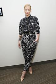 Iggy Azalea looked super cool in a black-and-white printed jumpsuit during her visit to the 'Elvis Duran Z100 Morning Show.'