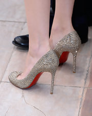 Marion sparkled in Cannes when she wore these gold embellished pumps.