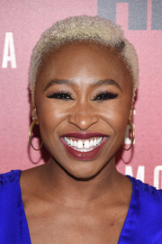 Cynthia Erivo sported bleached, short curls at the New York premiere of 'The Immortal Life of Henrietta Lacks.'