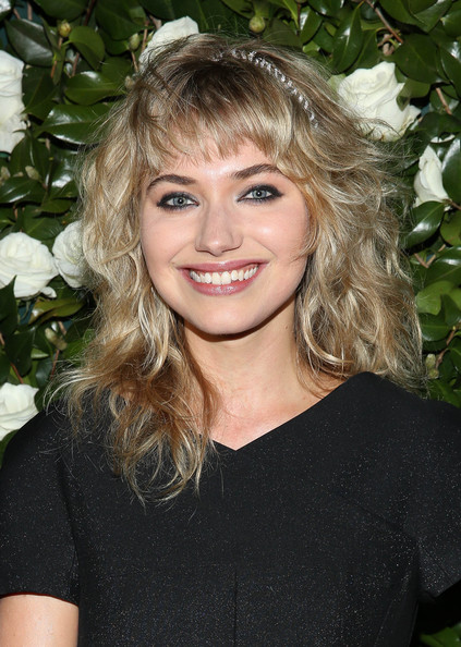 Imogen Poots Long Wavy Cut with Bangs [hair,blond,hairstyle,face,beauty,eyebrow,chin,long hair,brown hair,lip,museum of modern art 2013 film benefit: a tribute to tilda swinton - arrivals,museum of modern art 2013 film benefit: a tribute to tilda swinton,new york city,imogen poots]