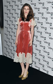 Tali Lennox wore a velvet and lace dress to InStyle's 10th Anniversary Party.