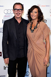 "Layne Beachley showed off her black and silver statement necklace while attending the ""InStyle"" Awards in Australia."