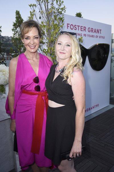 More Pics of Allison Janney Buckled Clutch (1 of 7) - Allison Janney Lookbook - StyleBistro [dress,event,carpet,pink,premiere,fashion,red carpet,shoulder,formal wear,cocktail dress,allison janney,hannah key,badass women dinner with foster grant,west hollywood,california,instyle,the london west hollywood]