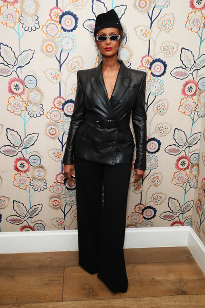 Iman was edgy-chic in a belted leather blazer at the InStyle Badass Women dinner.
