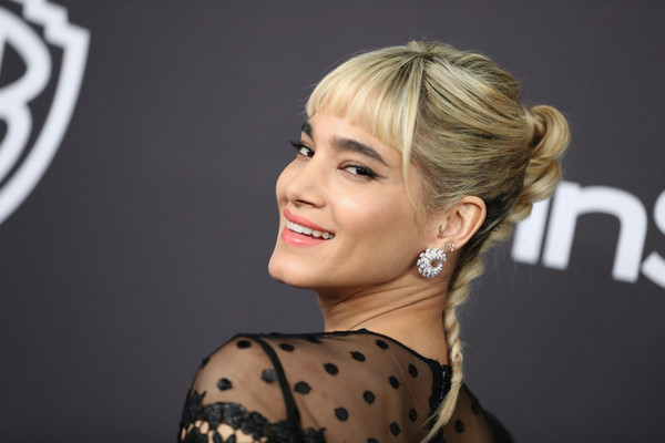 Sofia Boutella pulled her locks back into a braid for the InStyle and Warner Bros. Golden Globes after-party.