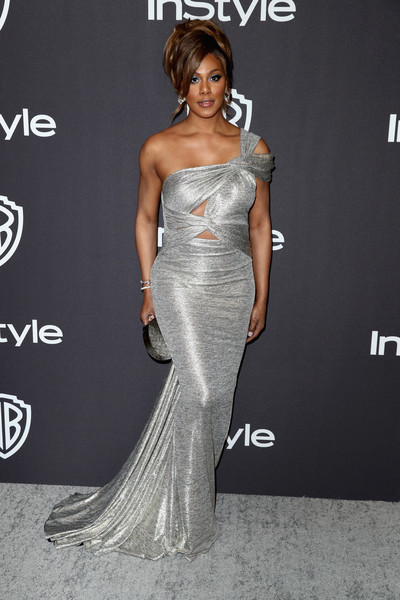Laverne Cox ravished in a silver one-shoulder cutout gown by Hamel at the InStyle and Warner Bros. Golden Globes after-party.