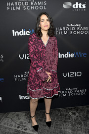 Abbi Jacobson chose a fuchsia print dress with silver trim for the inaugural IndieWire Honors.