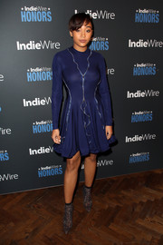 Amandla Stenberg glitzed up her dress with a pair of crystal ankle boots by Le Silla.