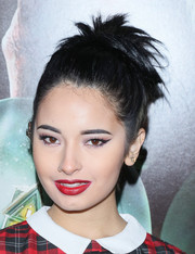Laura Sanchez pulled her hair back into a messy 'do for the screening of 'Krampus.'