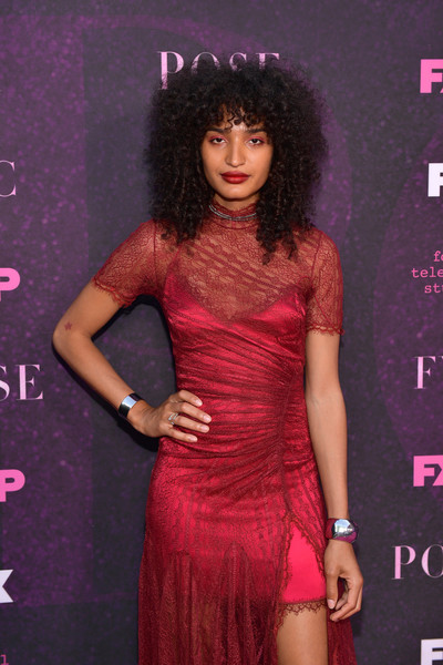 Indya Moore Cuff Bracelet [hair,clothing,fashion model,dress,cocktail dress,hairstyle,shoulder,lip,fashion,long hair,arrivals,indya moore,pose,fx,west hollywood,california,pacific design center,red carpet,event,red carpet event]