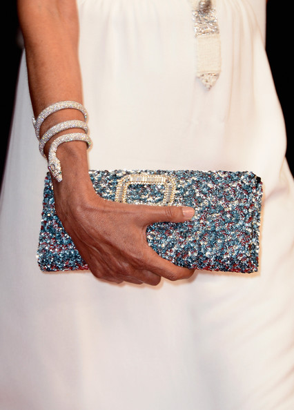 Ines de la Fressange Diamond Bracelet [turquoise,teal,dress,fashion,aqua,hand,finger,arm,nail,design,ines de la fressange,bag detail,theatre lumiere,cannes,france,opening ceremony,the great gatsby premiere - the 66th annual cannes film festival,cannes film festival]