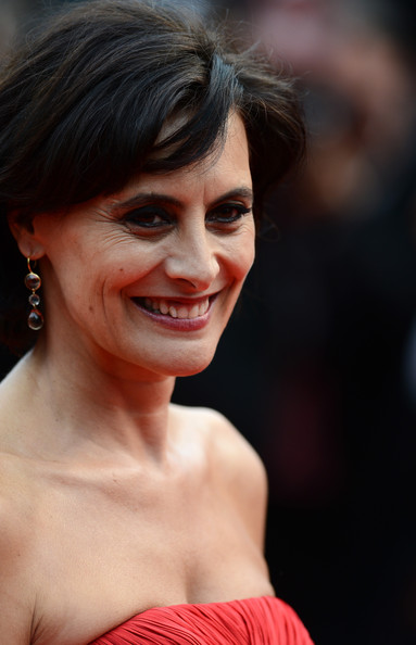 Ines de la Fressange Dangling Gemstone Earrings [jeune jolie,hair,face,hairstyle,eyebrow,facial expression,lip,beauty,skin,chin,smile,jeune and jolie premieres,ines de la fressange,cannes,france,cannes film festival,premiere,palais des festivals]