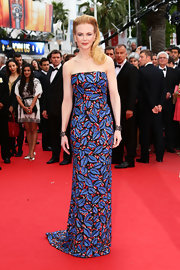 Nicole Kidman's printed strapless dress had fun and bold patterns on the red carpet of 'Inside Llewyn Davis.'