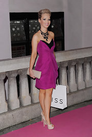 Katie Piper looked ultra-feminine in a two-tone black and fuchsia sweetheart dress at the Inspiration Awards for Women.