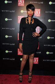 A pair of black platform sandals with gold studs added major edge to Jennifer Hudson's outfit.