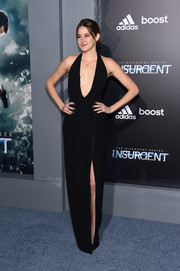 Shailene Woodley looked ravishing at the NYC premiere of 'Insurgent' in a black Ralph Lauren halter gown with a deep-V plunge and a thigh-high slit.