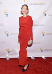 Leelee Sobieski opted for a simple red column dress when she attended the International Centre for Missing and Exploited Children's Inaugural Gala.
