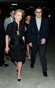 Carolina Herrera was a headturner in her feathered black skirt at the Luxury Business Conference.