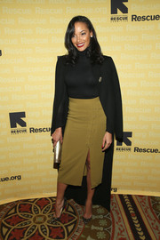 Selita Ebanks paired a high-slit olive-green pencil skirt with a black turtleneck for the Freedom Award benefit.
