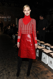 Kate Bosworth showed off a hot-off-the-runway grid-patterned red sweater by Creatures of the Wind at the International Woolmark Prize event.