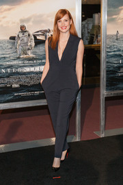 Jessica Chastain kept it fuss-free in a sleeveless black jumpsuit by Marios Schwab during the Washington DC premiere of 'Interstellar.'